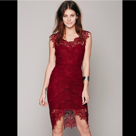 e707382b Free People Dresses | Peekaboo Burgundy Lace Bodycon Dress | Poshmark